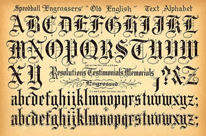 Speedball Pen - Old English Text Alphabet - 1957 - Lettering Calligraphy Magnet