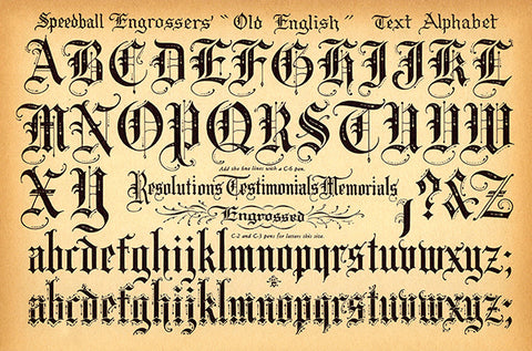 Speedball Pen - Old English Text Alphabet - 1957 - Lettering Calligraphy Poster