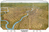 Spokane, Washington - 1905 - Aerial Bird's Eye View Map Poster