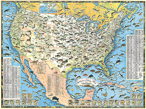 Sportsmen's Fishing Map Of The United States - 1957 - Pictorial Map Poster