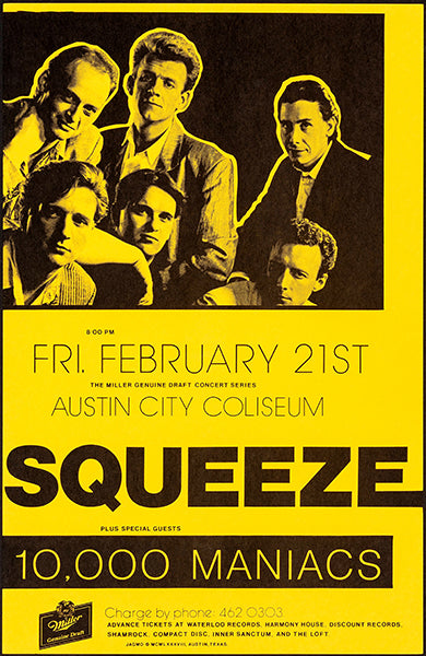 Squeeze - 10,000 Maniacs - 1988 - Austin TX - Concert Poster