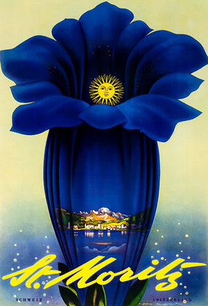 St. Moritz - Switzerland - 1952 - Travel Poster Magnet