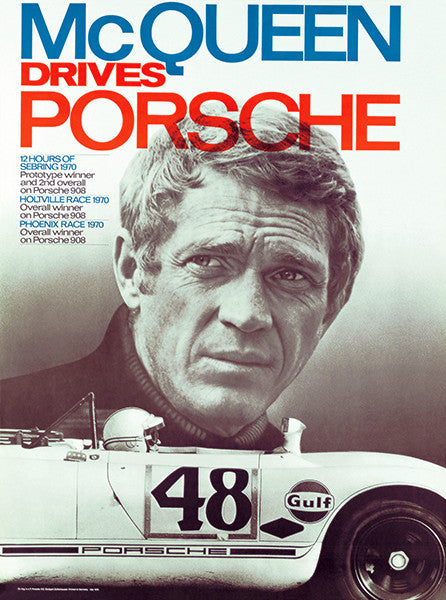 Steve McQueen Drives Porsche - 1970 - Promotional Race Poster