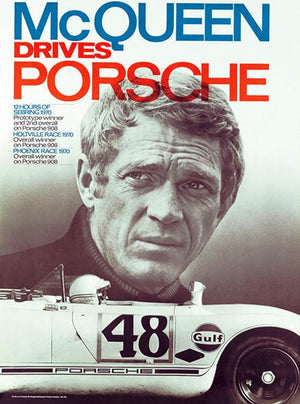 Steve McQueen Drives Porsche - 1970 - Promotional Race Magnet