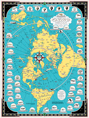 Story Map Of Flying - Aeronautics Airplanes History - 1944 - World Pictorial Map Poster