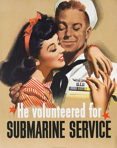 Submarines Service - US Navy - 1944 - World War II - Propaganda Poster