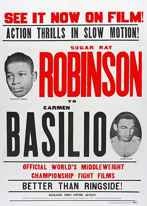 Sugar Ray Robinson vs Carmen Basilio - 1958 - Fight Movie Poster Magnet