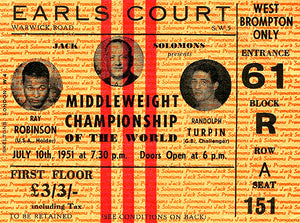 Sugar Ray Robinson vs Randy Turpin - 1951 - Earl's Court - Ticket Stub Poster