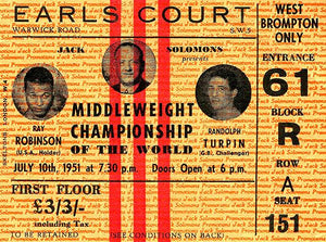 Sugar Ray Robinson vs Randy Turpin - 1951 - Earl's Court - Ticket Stub Magnet