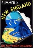Summer In New England - New Haven Railroad - 1930's - Travel Poster