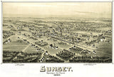 Sunset, Montague County, Texas - 1890 - Aerial Bird's Eye View Map Poster