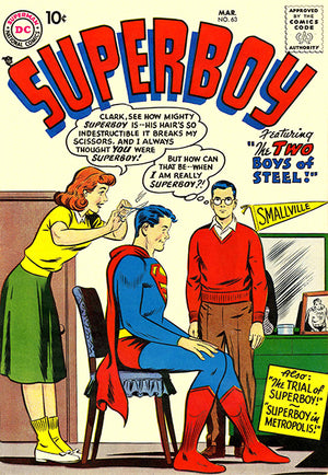 Superboy #63 - March 1958 - Comic Book Cover Poster