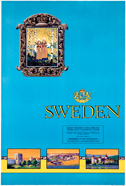 Sweden - Swedish State Railway - 1940's - Travel Poster