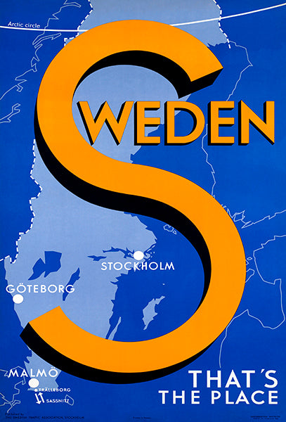 Sweden - That's The Place - 1935 - Travel Poster