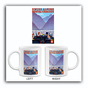 Swiss Alpine Postal Coaches - Switzerland - 1950's - Travel Poster Mug