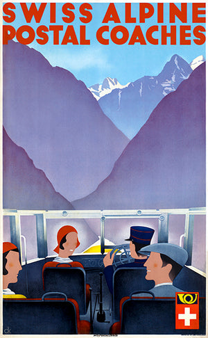 Swiss Alpine Postal Coaches - Switzerland - 1950's - Travel Poster