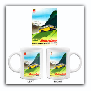 Switzerland - Alpine Postal Motor Coaches - 1950's - Travel Poster Mug
