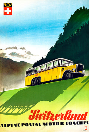 Switzerland - Alpine Postal Motor Coaches - 1950's - Travel Poster