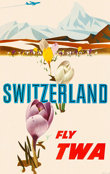 Switzerland - Fly TWA - 1960's - Travel Poster Magnet