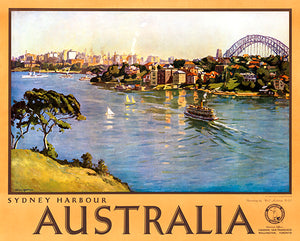 Sydney Harbour Australia - 1940's - Travel Poster