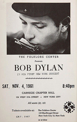 Bob Dylan - Carnegie Chapter Hall - New York - 1961 - Concert Poster