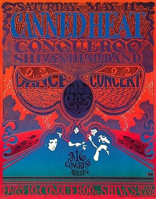 Canned Heat - Conqueroo - Shiva's Head Band - 1968 - Austin - Concert Poster