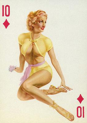 10 of Diamonds - 1950's - Pin Up Magnet