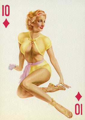 10 of Diamonds - 1950's - Pin Up Poster