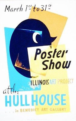 Late 1930's Illinois Art Project - Hull House - Promotional Advertising Poster