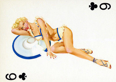 6 of Clubs 1950's Pin up Poster
