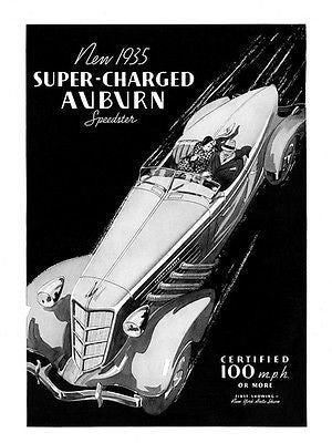 1935 Super Charged Auburn Speedster - Promotional Advertising Poster