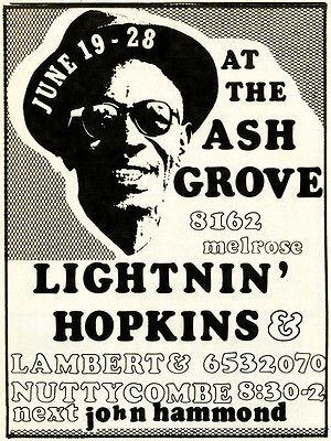 Lightnin' Hopkins - Ash Grove - 1970 Concert Poster Magnet