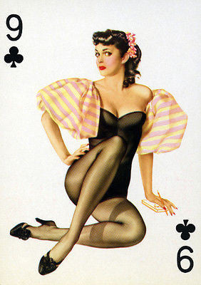 9 of Clubs 1950's Pin up Poster