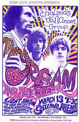 Cream - Blue Cheer - Sellano Arena - 1968 Concert Poster