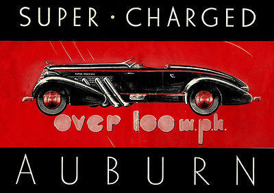 1936 Super Charged Auburn Speedster - Promotional Advertising Poster