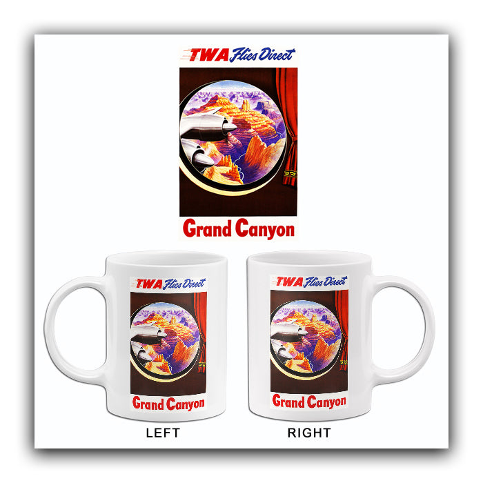 1950's Grand Canyon - TWA Flies Direct - Travel Advertising Mug