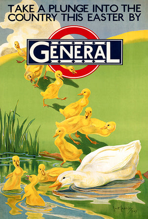 Take A Plunge Into The Country This Easter By General - 1920's - Travel Poster