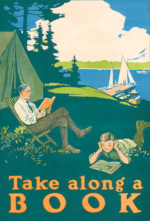 Take Along A Book - Camping - 1910 - Reading Motivational Magnet