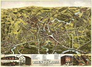 Taunton, Massachusetts - 1875 - Aerial Bird's Eye View Map Poster