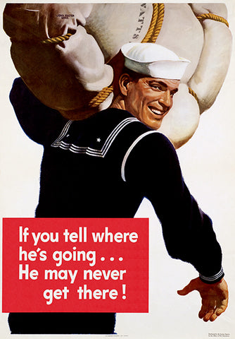 Tell Where - He May Never Get There! - 1943 - World War II - Propaganda Poster