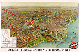 Terminals Chicago And North-Western Railway - 1902 - Aerial Bird's Eye View Map Poster