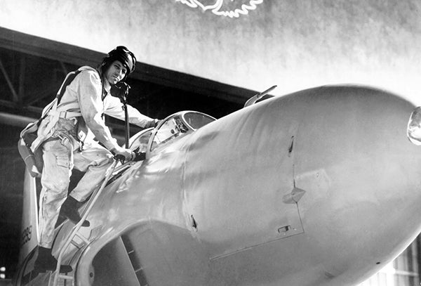 Test Pilot Lawrence Clousing With Lockheed P-80 Shooting Star - Photo Poster