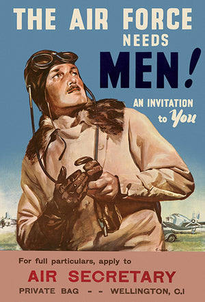 The Air Force Needs Men! - Invitation To You - 1940's - World War - Propaganda Magnet