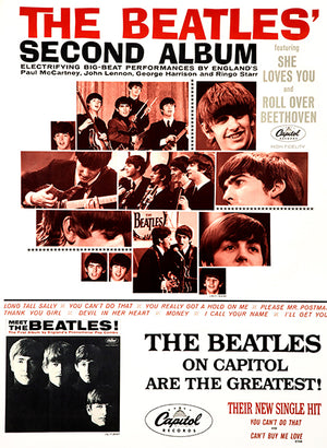 The Beatles - Second Album - 1964 - US Album Release Promo Poster