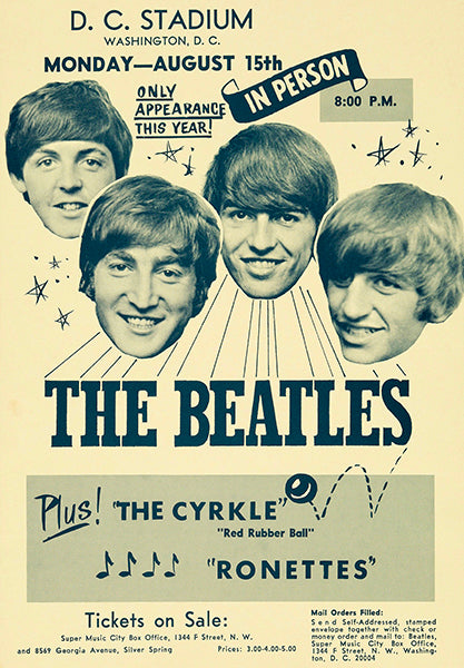 The Beatles - The Ronettes - Washington DC - 1965 - Concert Poster