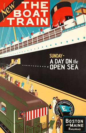 The Boat Train - Sunday - Day On Open Sea - Boston & Maine - 1925 - Travel Poster Mug