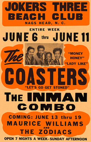 The Coasters - 1966 - Nags Head NC - Concert Poster