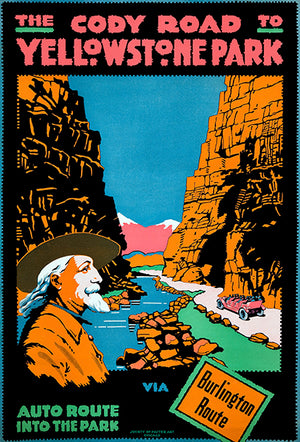 The Cody Road To Yellowstone Park - 1916 - Travel Poster Magnet