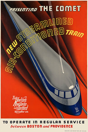 The Comet - New Streamlined Air -Conditioned Train - 1935 - Travel Poster