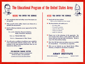The Educational Program Of The United States Army - 1940's - World War II - Propaganda Magnet